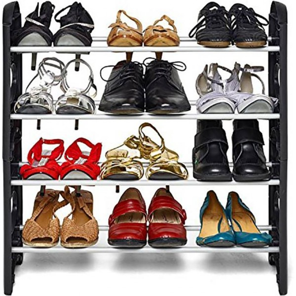 WYVERN Plastic Collapsible Shoe Stand  (Black, 4 Shelves)
