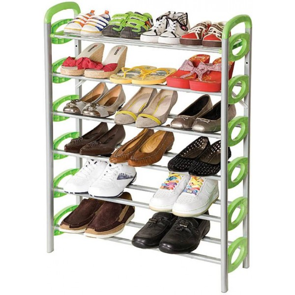 Kawachi Plastic, Aluminium Collapsible Shoe Stand  (Green, Silver, 6 Shelves)