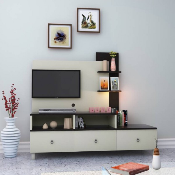 HomeTown Lauren Engineered Wood TV Entertainment Unit  (Finish Color - White)