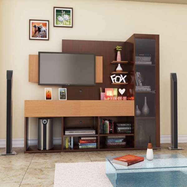HomeTown Greta Engineered Wood TV Entertainment Unit  (Finish Color - Teak)