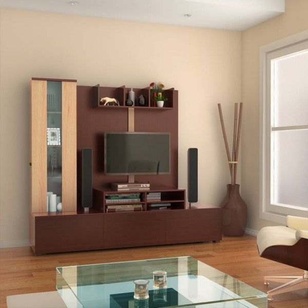 HomeTown Hugo Engineered Wood TV Entertainment Unit  (Finish Color - Walnut & Teak)