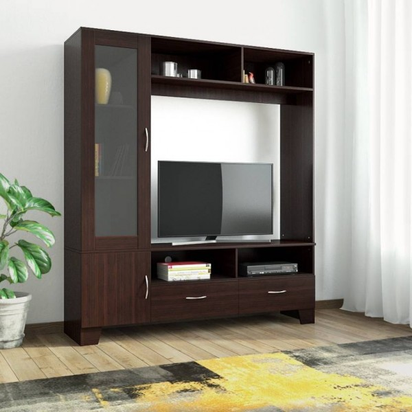 HomeTown Engineered Wood TV Entertainment Unit  (Finish Color - Walnut)