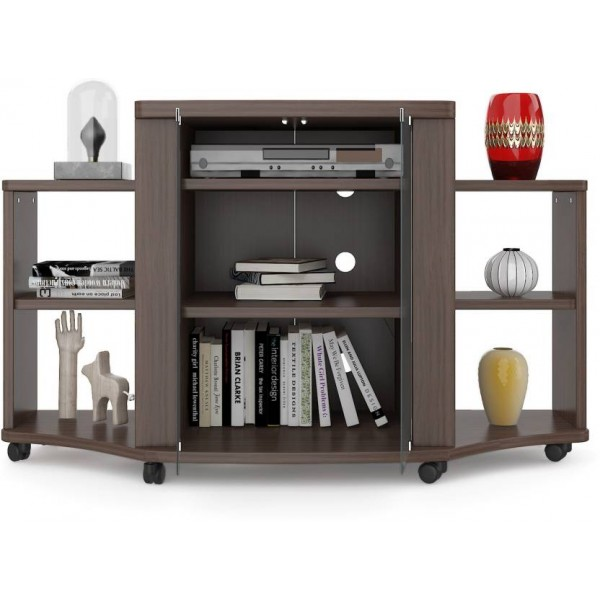 HomeTown Pacific Tv Engineered Wood TV Entertainment Unit  (Finish Color - Walnut)