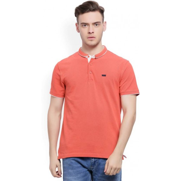 Levi's Solid Men's Polo Neck Red T-Shirt