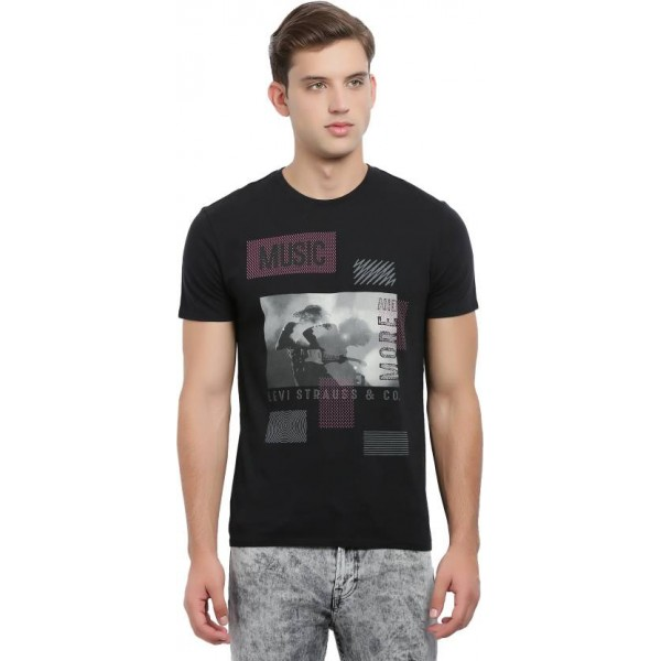 Levi's Printed Men's Round Neck Black T-Shirt