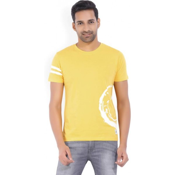 Lee Solid Men's Round Neck Yellow T-Shirt