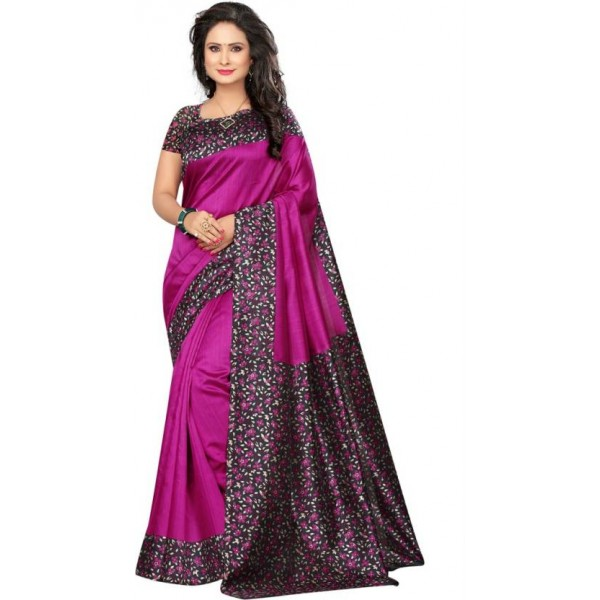 Saara Printed Daily Wear Poly Silk Saree  (Pink)