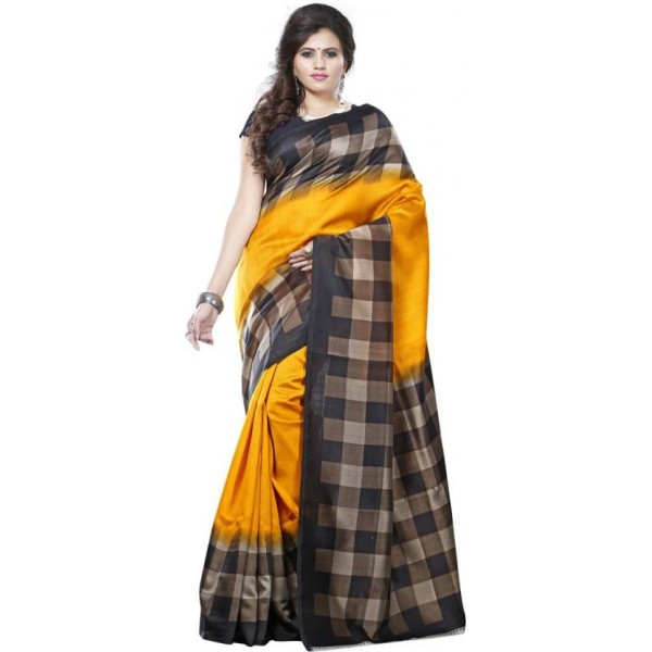 Saara Solid, Geometric Print, Printed Daily Wear Cotton, Silk Saree  (Yellow)