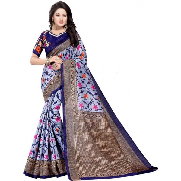 Mansvi Fashion Printed Bollywood Art Silk Saree  (Multicolor)