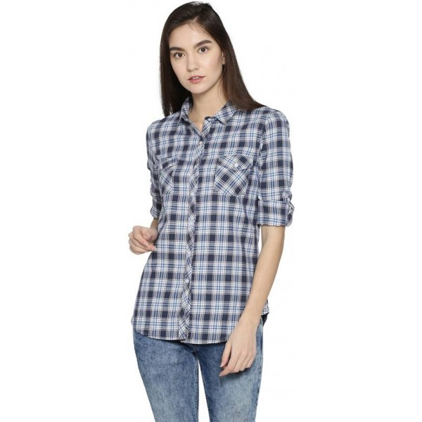 Campus Sutra Women's Checkered Casual Spread Shirt