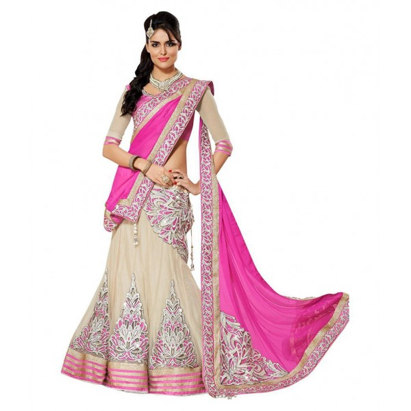 White World Beige Georgette Semi Stitched Lehenga
