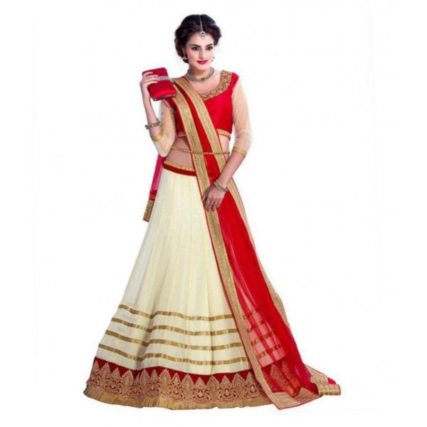 Darshana Off White Georgette Unstitched Lehenga