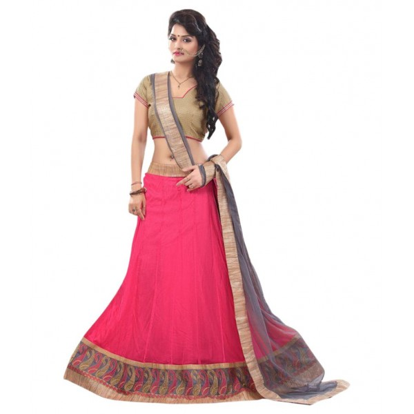 Anu Clothing Pink Net Unstitched Lehenga