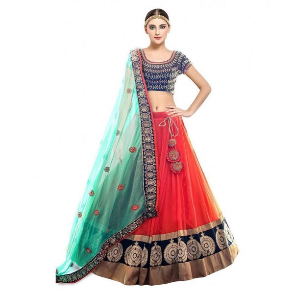 Fashion2wear Multicoloured Net Semi Stitched Lehenga