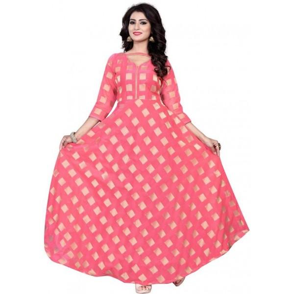 3Buddy Fashion Anarkali Gown  (Pink)