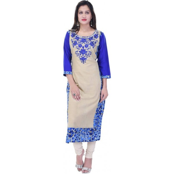Style N Shades Women's Embroidered Straight Kurta  (Blue)