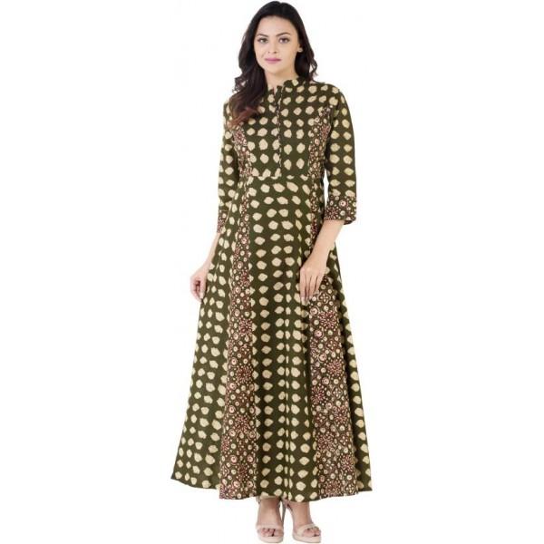 Khushal K Women's Self Design Anarkali Kurta  (Green)