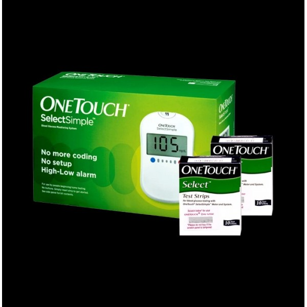 OneTouch Combo Pack of Select Simple Glucometer with 20 Free Test Strips