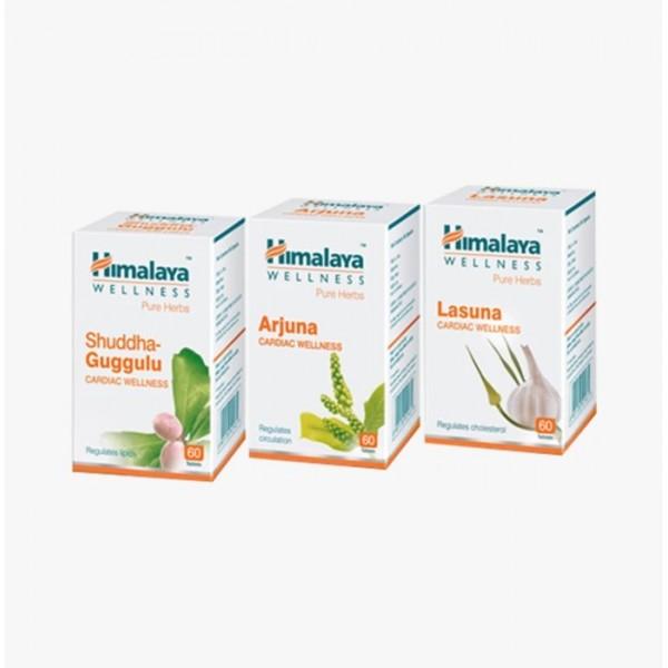 Himalaya Wellness Cardiac Care Combo Pack (Arjuna 60 Tablets, Lasuna 60 Tablets, Shuddha Guggulu 60 Tablets)