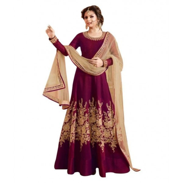 Fashion Basket Maroon Bangalore Silk Anarkali Semi-Stitched Suit