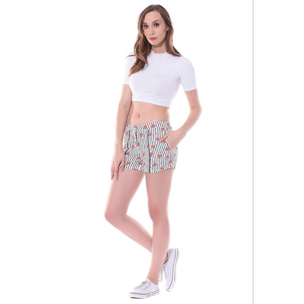 The vanca women's Shorts in red floral stripes