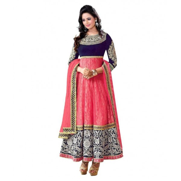 Chariot Ethics Pink Velvet Anarkali Semi-Stitched Suit