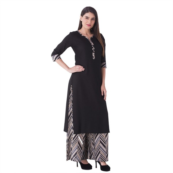 Khushal K Women's Cotton Kurti With Palazzo Pant Set