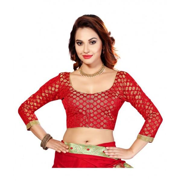 Studio Shringaar Red Round Shape With Dori Blouse