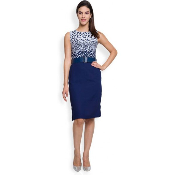 Tokyo Talkies Women's Sheath Dark Blue Dress
