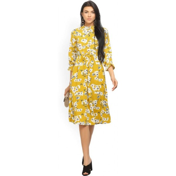 Tokyo Talkies Women's A-line Yellow Dress
