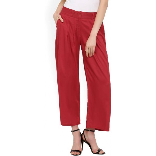 W Relaxed Women's Red Trousers