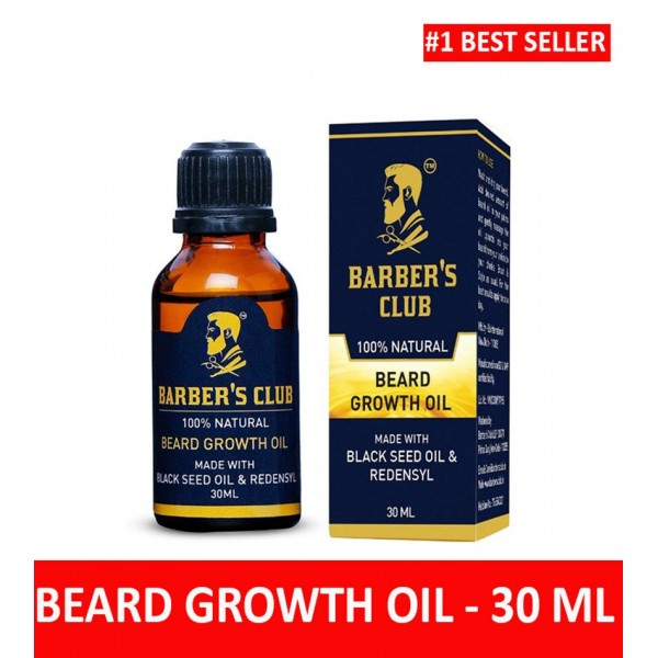 Barber's Club Beard Growth Oil with Black Seed Oil (100% Organic & Natural) -30ml