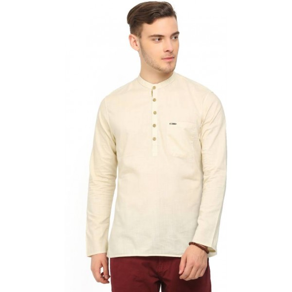 Peter England Men's Self Design Straight Kurta  (Beige)