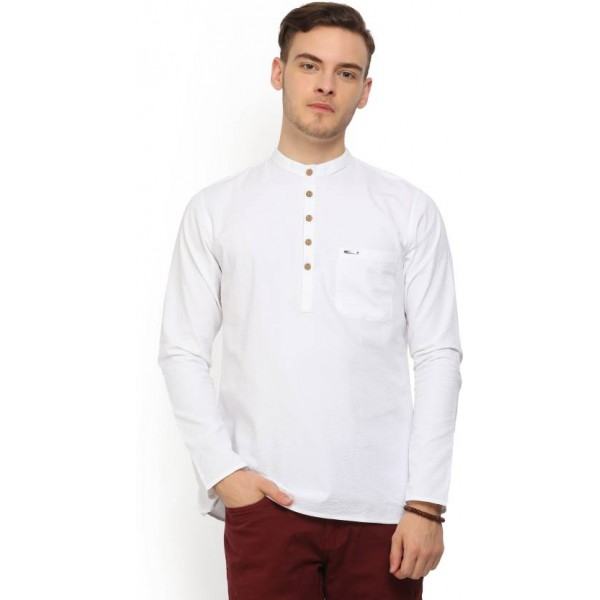 Peter England Men's Self Design Straight Kurta  (White)