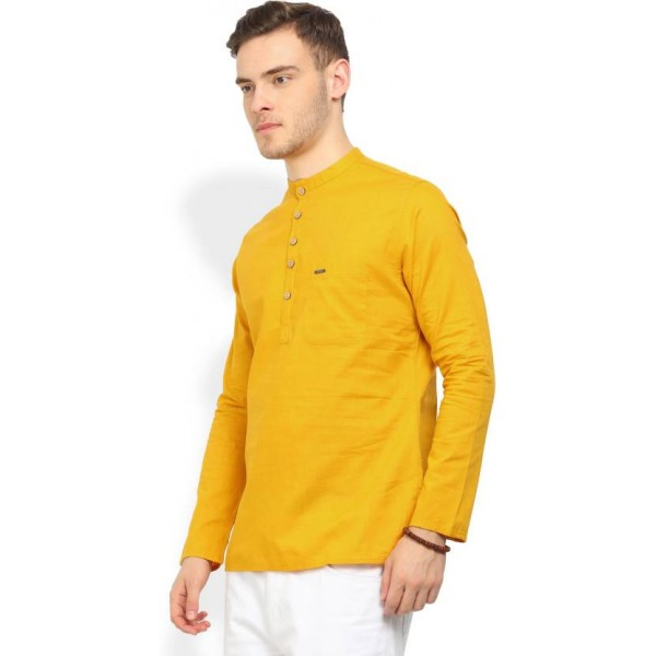 Peter England Men's Self Design Straight Kurta  (Yellow)
