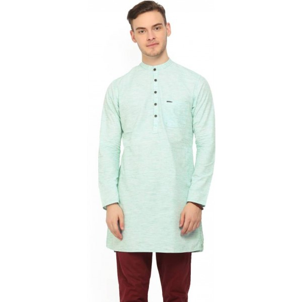 Peter England Men's Self Design Straight Kurta  (Green)
