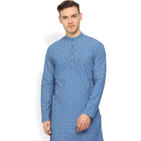 Peter England Men's Printed Straight Kurta  (Blue)
