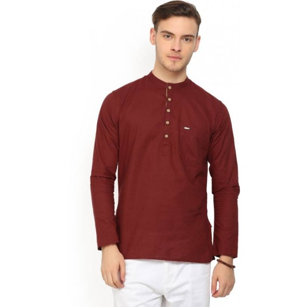 Peter England Men's Solid Straight Kurta  (Maroon)