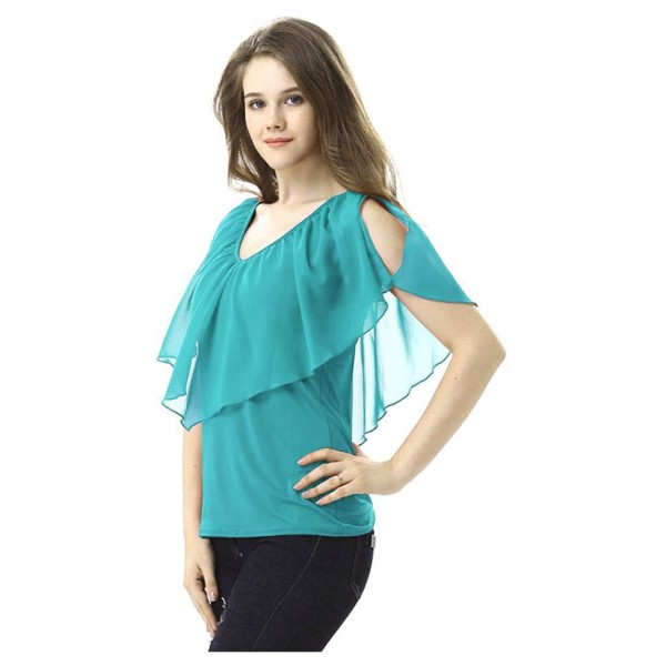 Aashish Fabrics Net Regular Tops - Green