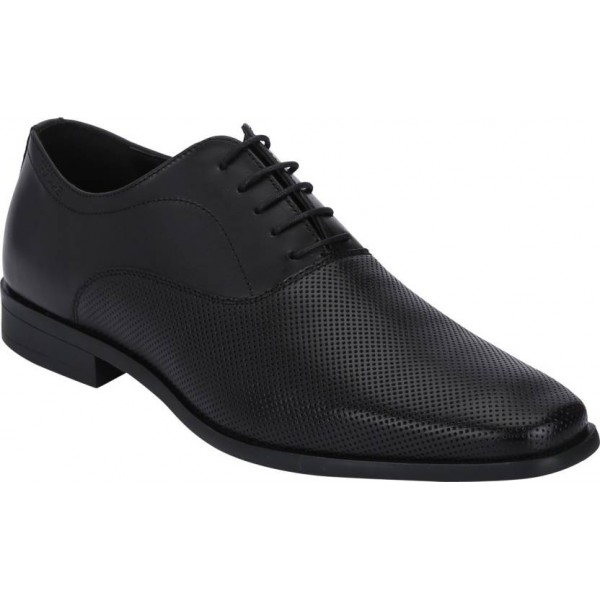 Red Tape Formal Leather Oxfords Lace Up For Men  (Black)