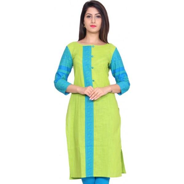 GMI Casual Printed Women Kurti  (Green)