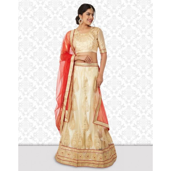 Divastri Embroidered Unstitched Lehenga, Choli and Dupatta Set  (Multicolor)