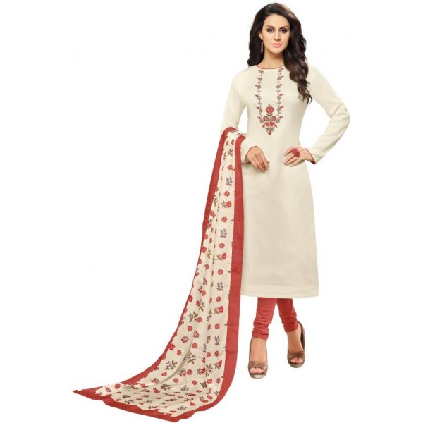 Oomph! Cotton Polyester Blend Embroidered Salwar Suit Dupatta Material  (Un-stitched)