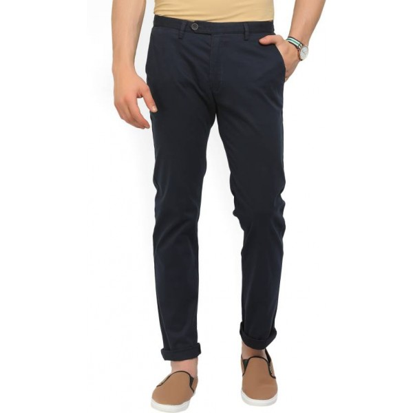 Peter England Slim Fit Men's Dark Blue Trousers