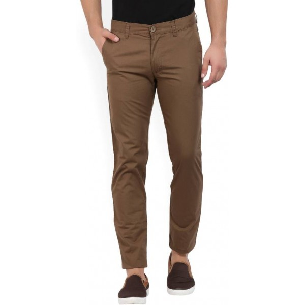 Peter England Slim Fit Men's Brown Trousers