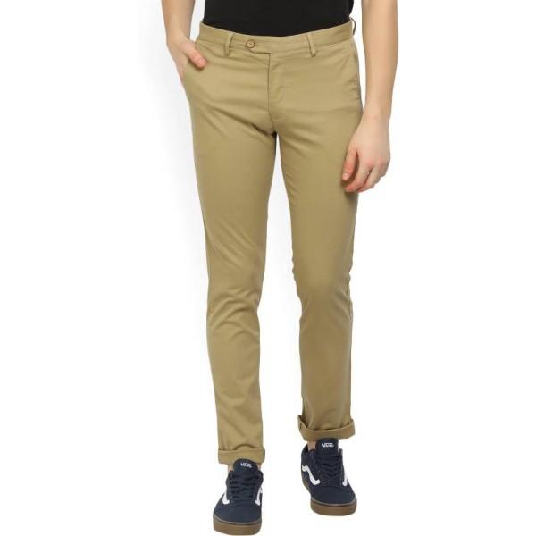 Peter England Slim Fit Men's Beige Trousers