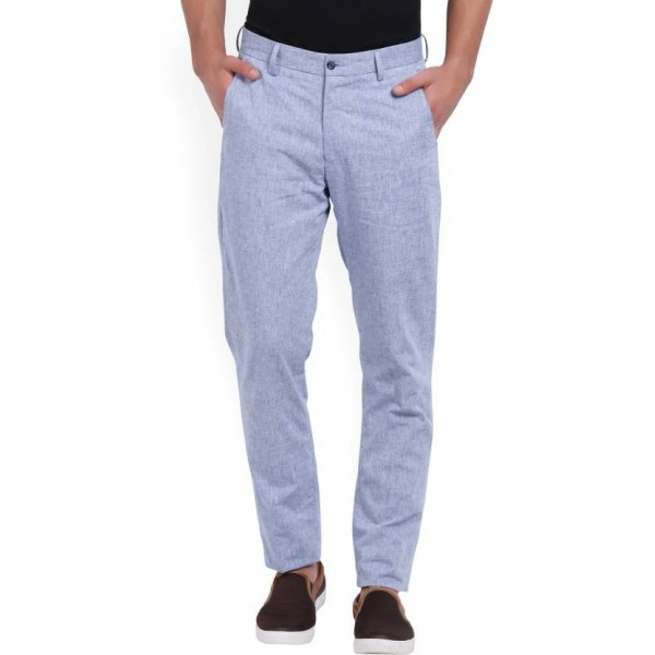 Peter England Slim Fit Men's Blue Trousers
