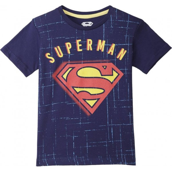 Superman Boys Graphic Print Cotton T Shirt  (Blue, Pack of 1)