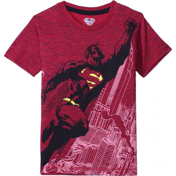 Superman Boy's Graphic Print Cotton Polyester Blend T Shirt  (Red, Pack of 1)