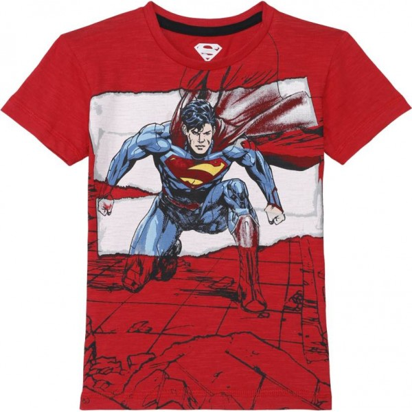 Superman Boy's Graphic Print Cotton T Shirt  (Red, Pack of 1)